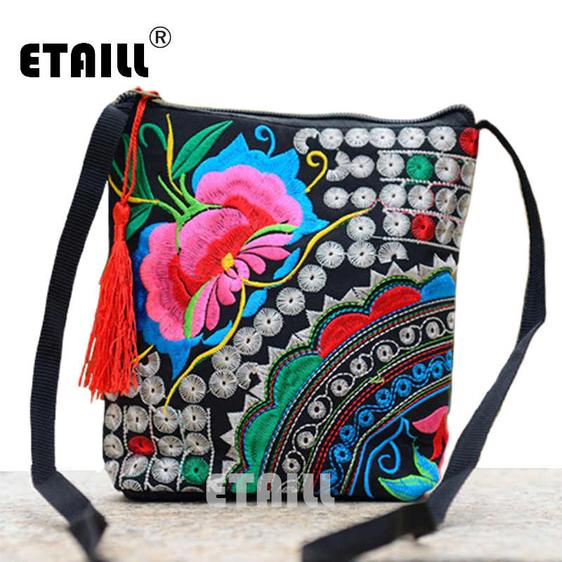 e4ce7846b6 ... Ethnic Hmong Boho Indian Embroidered Small Shoulder Bag Handmade Fabric  Embroidery Logo Luxury Brand Crossbody Bags ...