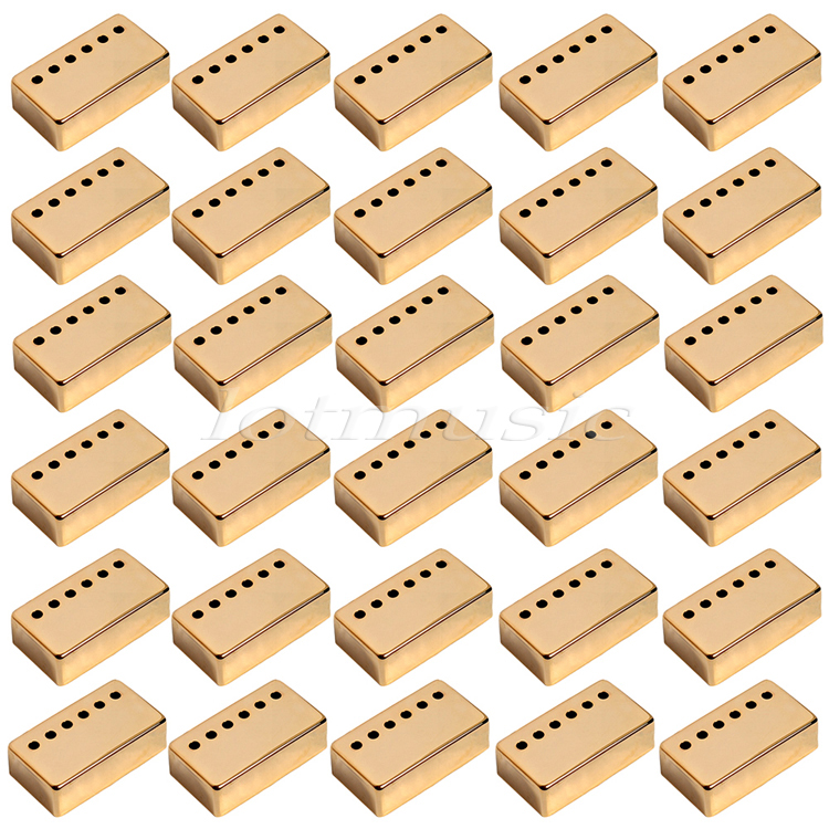 30Pcs Gold Metal Guitar Humbucker Pickup Cover For Electric Guitar Replacement 52mm Pole Space yibuy gold vintage lipstick tube pickup for single coil electric guitar
