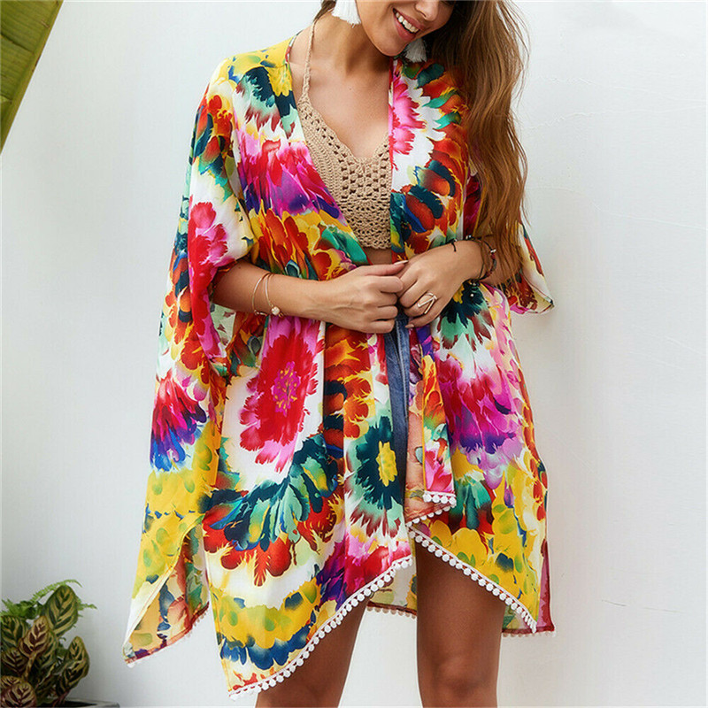Women Chiffon Kimono Bikini Cover Up Beach Cardigan Wrap Beach Wear New Sexy Floral Tassel Long Sleeves Covers Up Hot Selling