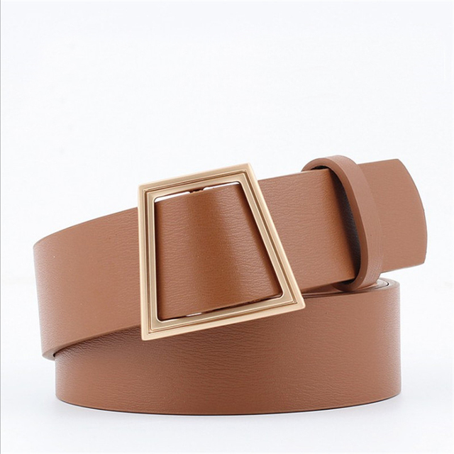 8cb072b1b 2018 New Trapezoid Metal Smooth Buckle Wide Waist Belt for Woman Black Tan  Pu belts for Dress Jeans Female Waistband Belts
