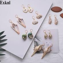Exknl Natural Sea Shell Drop Earring for Women Trendy Metal 2019 Dangle Geometric Statement Earrings Summer Beach Party Jewelry цена