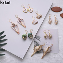 Exknl Natural Sea Shell Drop Earring for Women Trendy Metal 2019 Dangle Geometric Statement Earrings Summer Beach Party Jewelry(China)