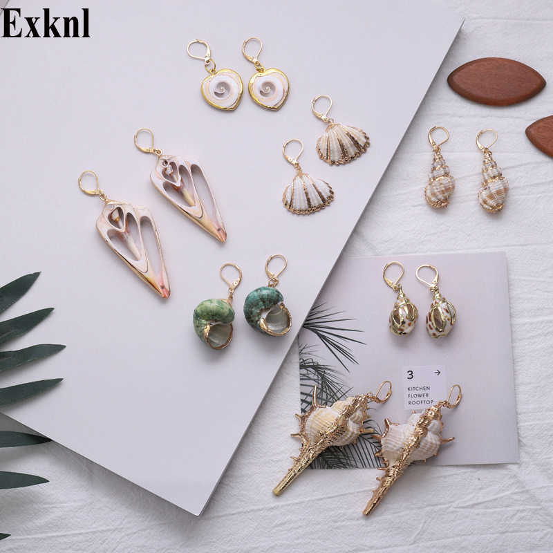 Exknl Natural Sea Shell Drop Earring for Women Trendy Metal 2019 Dangle Geometric Statement Earrings Summer Beach Party Jewelry