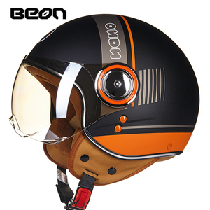 Image 5 - BEON moto rcycle helm Vintage roller open face helm Retro Reiten Racing helm ECE genehmigt Italien flagge moto Gehen kart casco