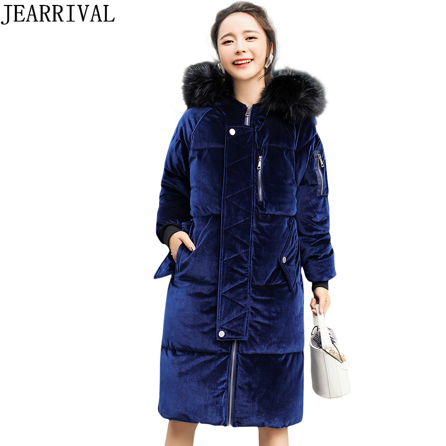 HIgh Quality Long Winter Coat Women 2017 New Fashion Solid Color Fur Collar Hooded Velvet Jacket Cotton Padded Coats Outwear new high quality winter women s feather cotton long style coats fashion hooded imitation fox fur collar plus size coat okxgnz857