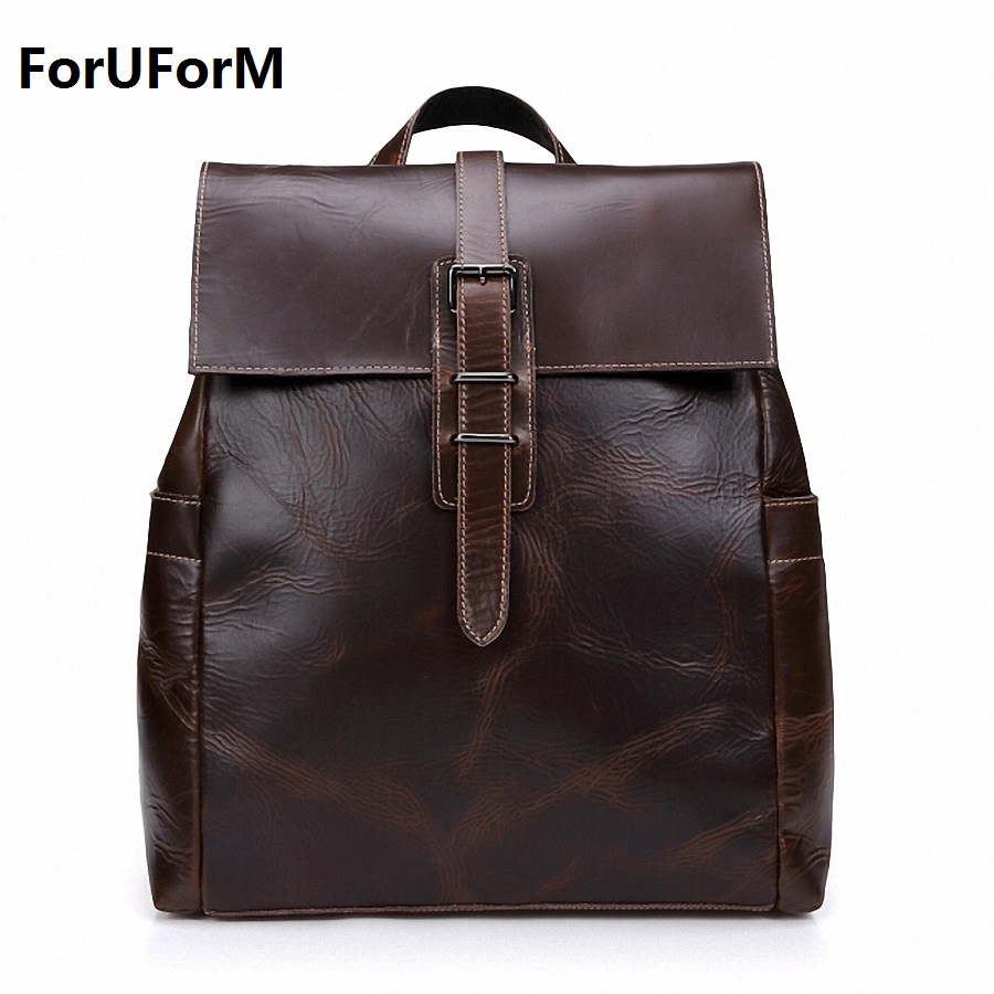 Large Capacity Brown Color Real Genuine leather Men Vintage Backpacks Cowhide 15'' Laptop Casual Backpack Man Travel Bag LI-1411 zooler genuine leather backpacks for men boy 2016 new backpack real leather famous brand china hot large capacity bag 8339