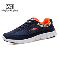 MH Hot Sale Men Casual Shoes Summer Breathable Solid Lace Up Walk Shoes Blue Grey Comfortable