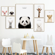 Kids Room Decoration Baby Nursery Poster Rabbit Giraffe Elephant Canvas Painting Prints Animal Wall Art Nordic Picture Decor animal cartoon poster giraffe elephant canvas painting nursery wall art nordic poster black and white picture kids room decor