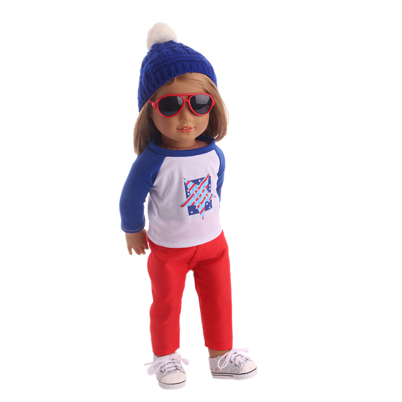 Doll Clothes Cool Casual Pentagon Pattern Tops Red Trousers+Hat For 18 Inch American Doll & 43 Cm Born Doll Girl`s  (no Shoes)