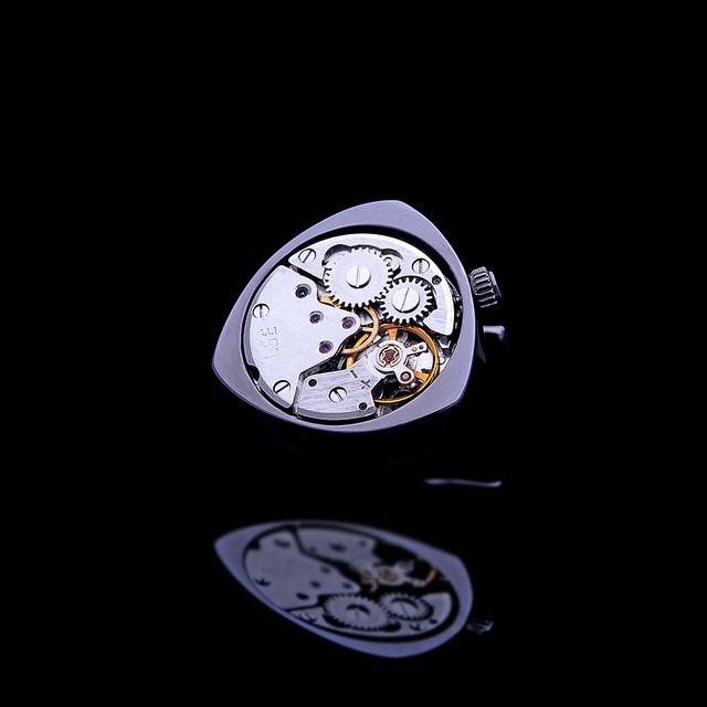 Kflk Jewelry Shirts Cufflinks Mens Black Watch Movement Mechanical Cuff Links Buttons Male High