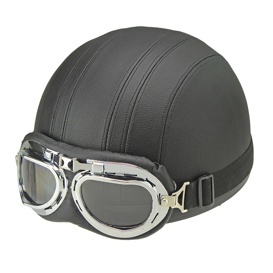 Hot Sell Brown Synthetic Leather vintage Motorcycle Motorbike Vespa Open Face Half Motor scooter Helmets Visor Goggles