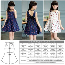 Hot!2018 Summer Cotton Cherry Bow Decor Princess Dress Floral Vest Dresses for Girls Children Clothes Vestidos Dress for Girl