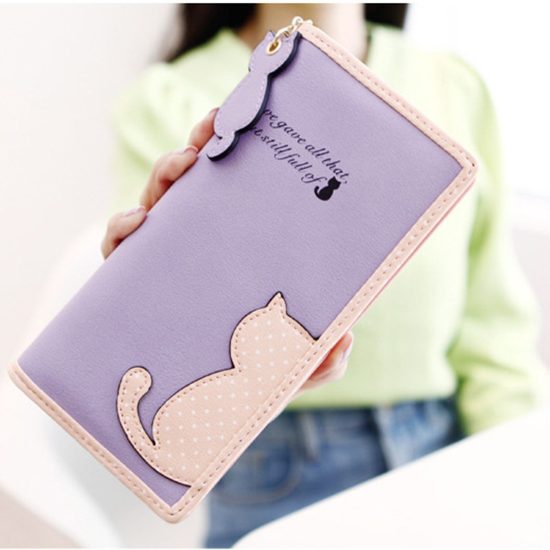 New Arrival Fashion Women Wallet Lady Cat Lovely PU Leather Female Wallet Card Holder Coin Purse High Quality Brand Purses Bag 2018 new arrival women s wallet long genuine leather brand quality ladies purses with zipper coin pocket card holder bag