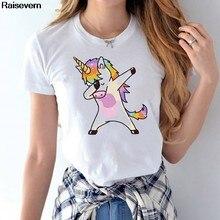 a7ec5206ac Arco Iris unicornio T camisa Mujeres Nuevo manga corta cuello Tops de  verano Casual camiseta Homme linda de Harajuku mujer camis.