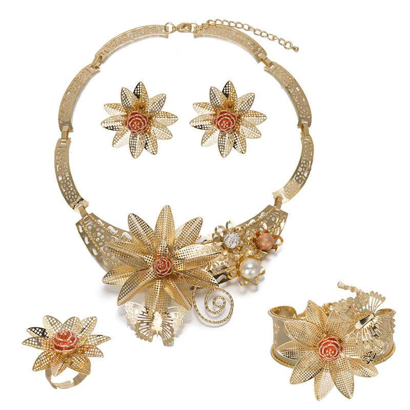 MUKUN Thời Trang Hoa Vàng Màu Trang Sức Bộ Beads Phi Phụ Nữ Cổ Điển Tuyên Bố Đám Cưới Vòng Cổ Lớn Bông Tai Vòng Tay Vòng