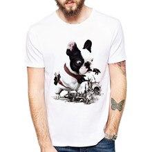 T-Shirt manches courtes homme, humoristique, design bouledogue français en 3D