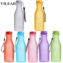 VILEAD 550ML Frosted Candy Colors Portable Plastic Unbreakable Water B