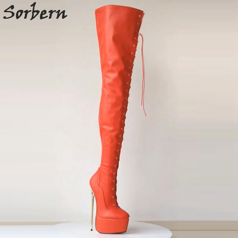 46eb84625e33 Sorbern 22Cm Metal Gold Heels Platform Heel Boot Over The Knee Thigh High  Boots Women Ultra High Heels 2018 Pole Dance Boots