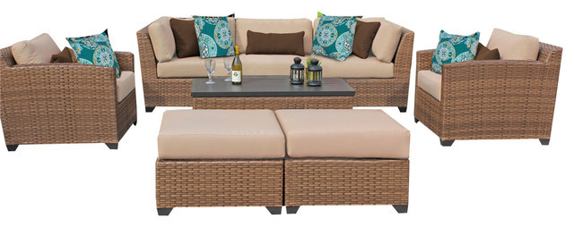 All Weather 6 Piece Outdoor Wicker Patio Furniture Sofa Set In