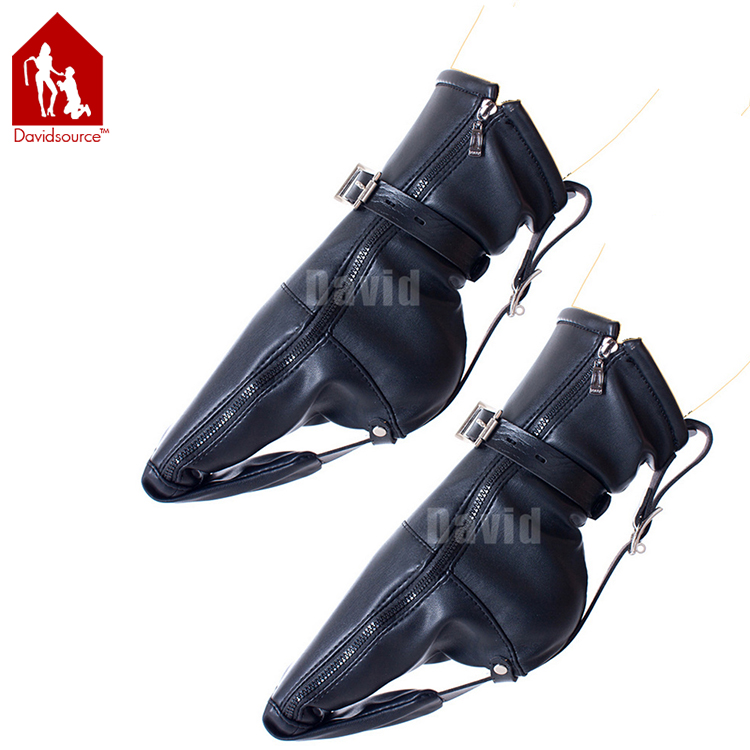 Davidsource Black Leather Foot Restraint Socks Binding -3004