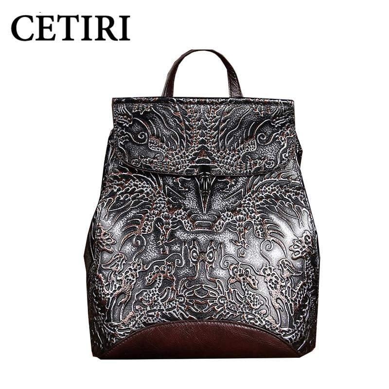 Vintage Real Genuine Leather font b Backpack b font For font b Women b font Travel