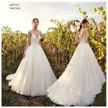 Женское свадебное платье в стиле бохо пляжное невесты на бретелях