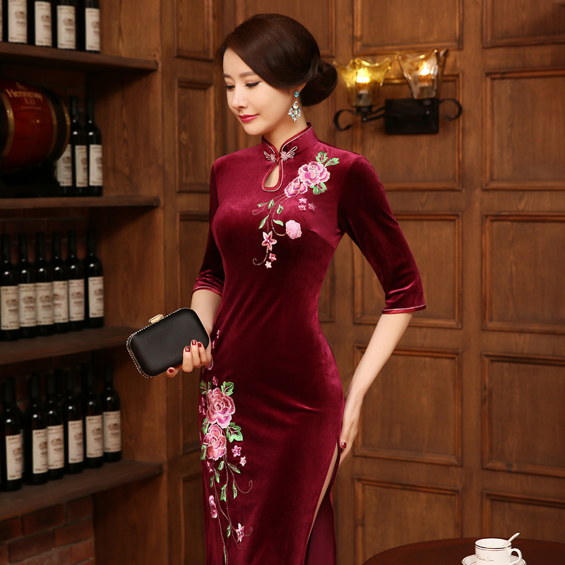 New Arrival Burgundy Chinese Women's Velour Qipao Long EmbroideryCheong-sam Dress S M L XL XXL Free Shipping J808