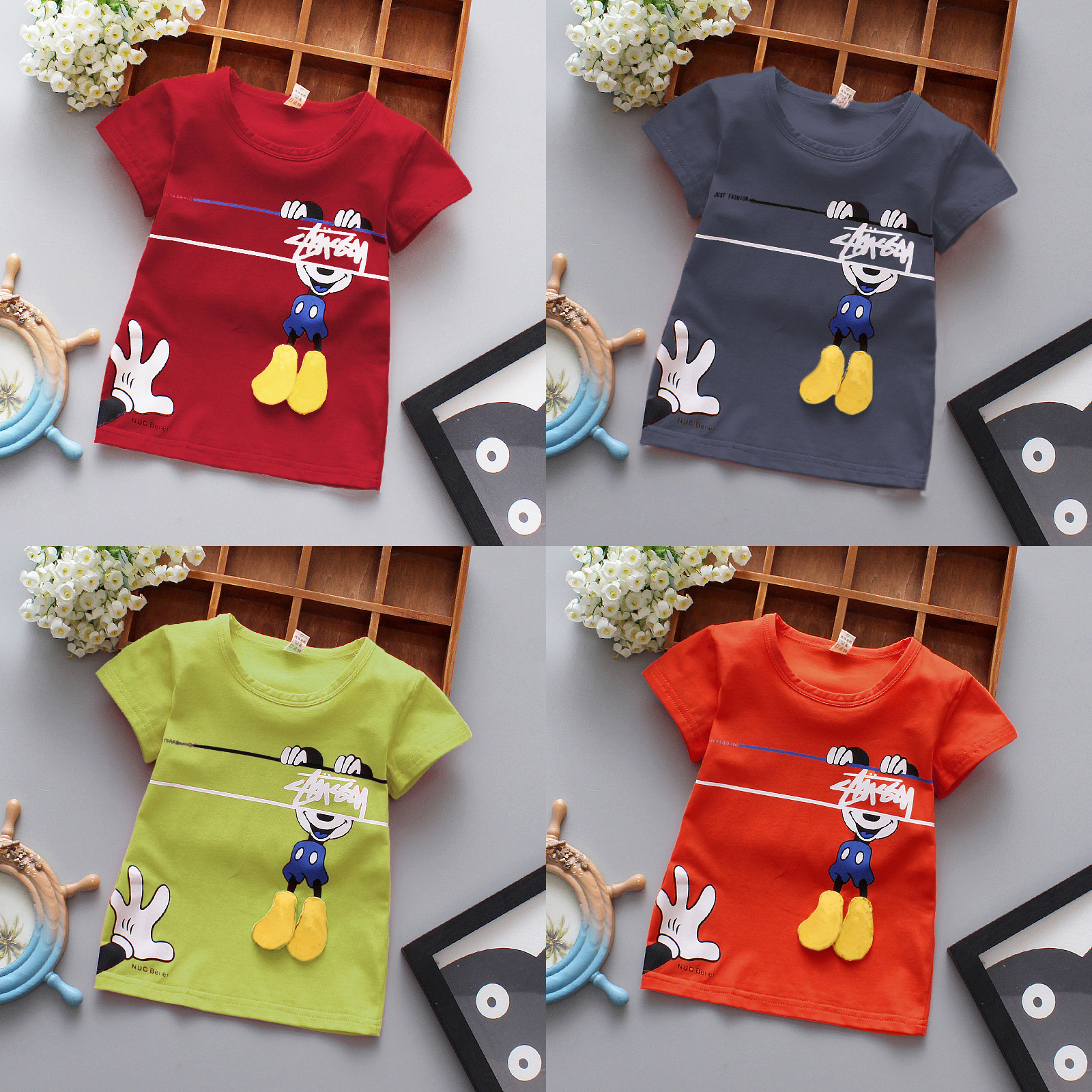 T-Shirt Tees Tops Cartoon Clothes Toddler Girl Infant Baby Short-Sleeved Boy Kids Cotton