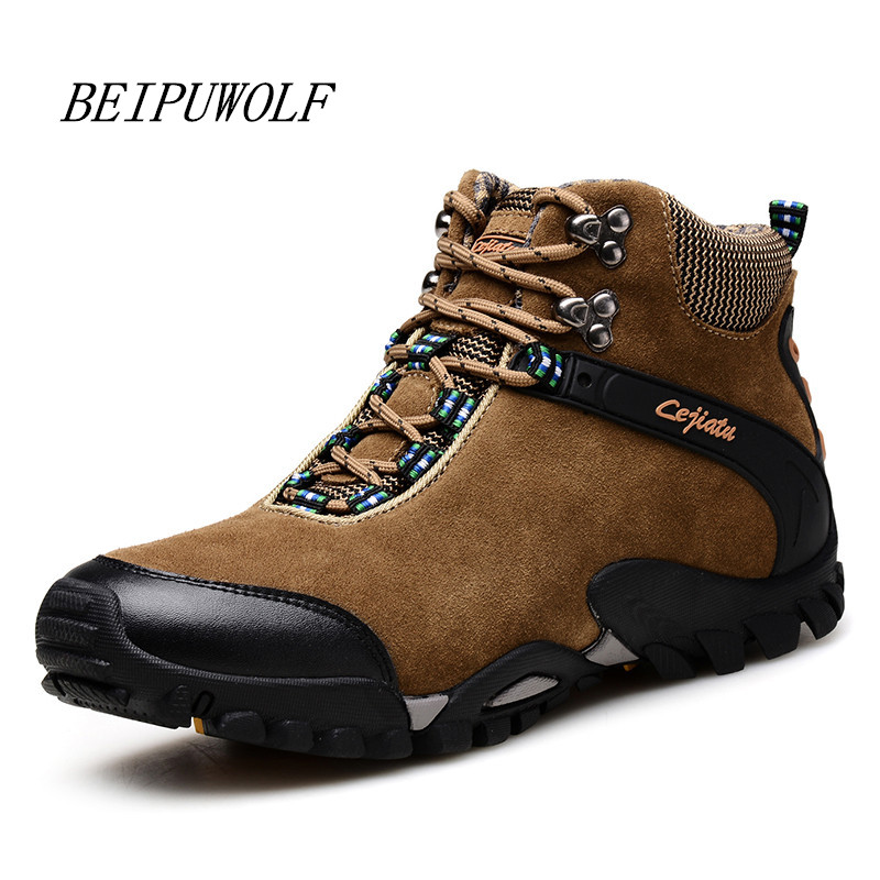 Size 39-45 Winter Warm Hiking Shoes Men Leather Trekking Hiking Boots Mountain Climbing Shoes Non-slip Sneakers