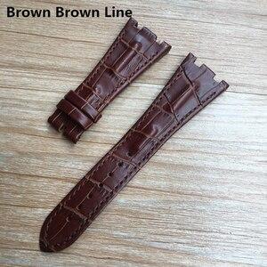 Image 5 - Voor AP band 28mm Zwart Blauw Grijs Groen Bruin Met Steken Echt Lederen Horloge Band Armband met staal deployment gesp