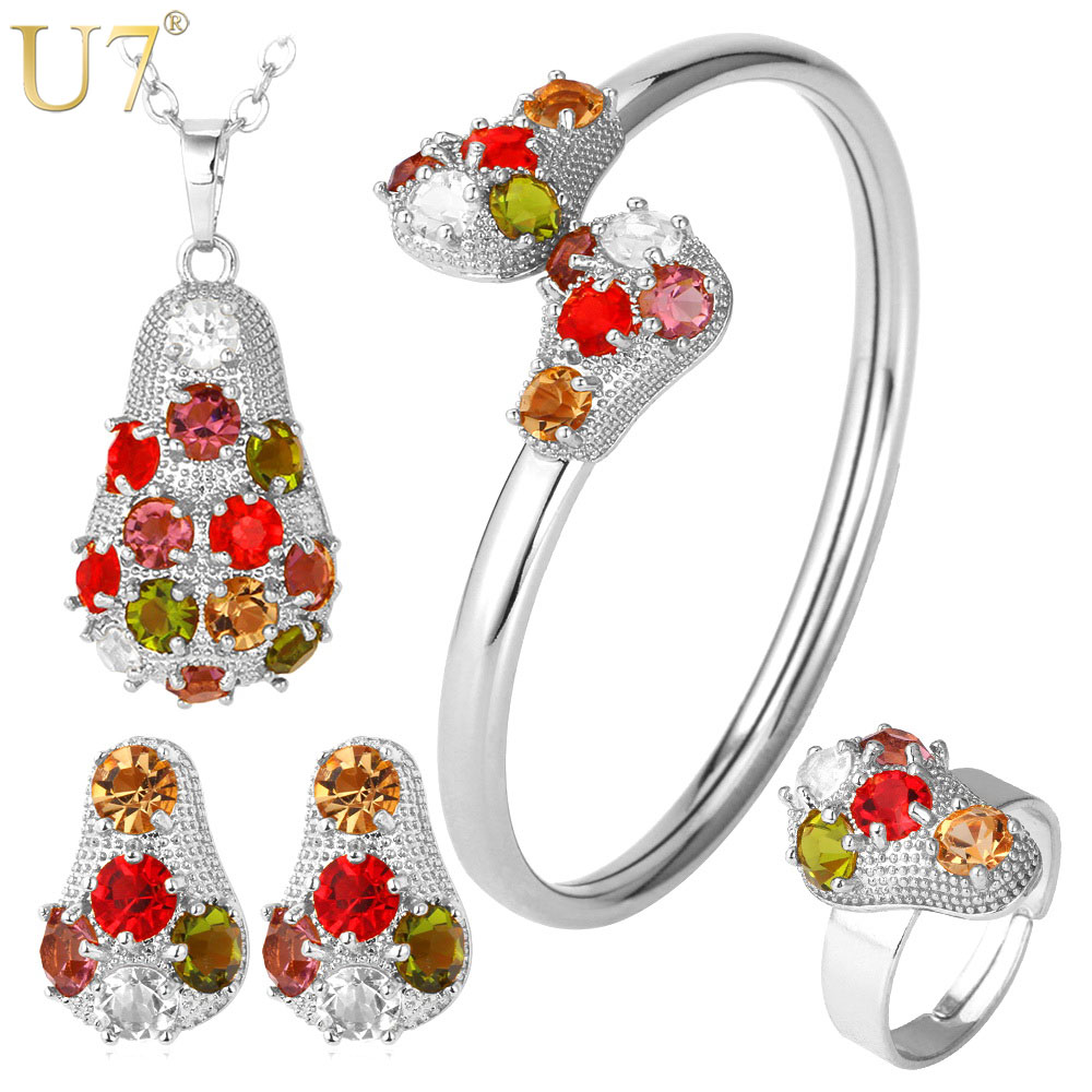 U7 Crystal Necklace Set Women Gold Color Colorful Rhinestone Necklace/Earrings/Bracelet/Ring Bridal Jewelry Sets S615 a suit of charming red rhinestone bamboo necklace bracelet ring and earrings for women page 9