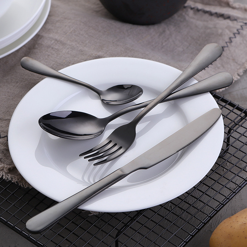 KuBac Hommi 30 Pcs/Set Dinnerware Set Stainless Steel Cutlery Set Black Knife Fork Set Gold Tableware sets Drop Shipping