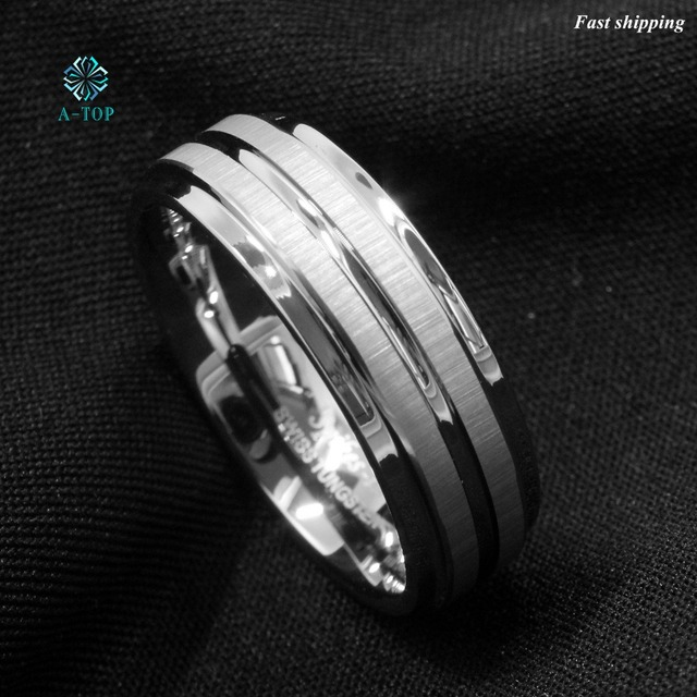 8Mm Silver Mens Tungsten Carbide Ring Two Vertical Brushed Meteorite Wedding Band Free Shipping