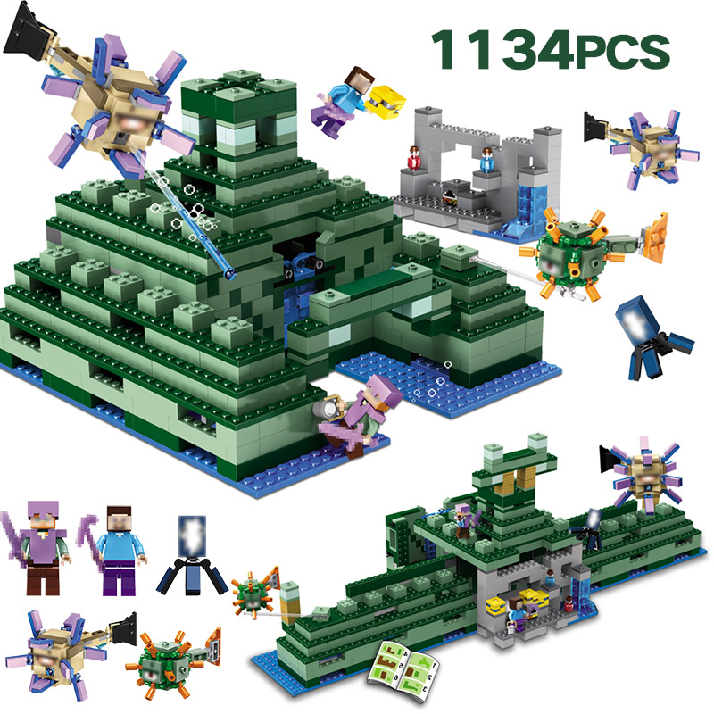 Technic Building Blocks Set Compatible LegoINGLYS Minecrafted The Ocean Monument Bricks Enlightened Toys for Children city rescue the searching ship set compatible legoinglys technic building blocks bricks kids toys children 42064
