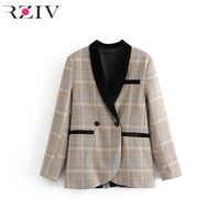 RZIV autumn female casual suit plaid pocket decorative velvet stitching suit