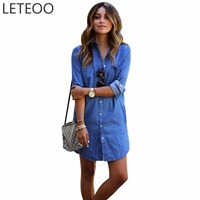 Women Blouses Jeans Summer 2017 Fashion Long Sleeve Cotton Shirt Single Breasted Long Shirt Dress Ladies