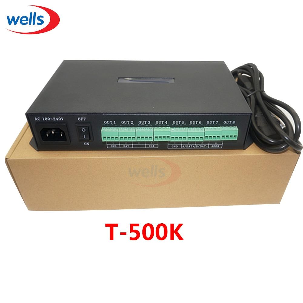 Řadič T-500K Počítač online WS2801 WS2811 6812 8806 Řídicí modul modulů pixelů APA102 vedený 8porty podporuje až 300 000 pixelů