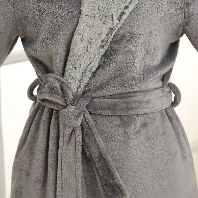 Men Women Luxury Grey Silk Flannel Long Bath Robe Mens