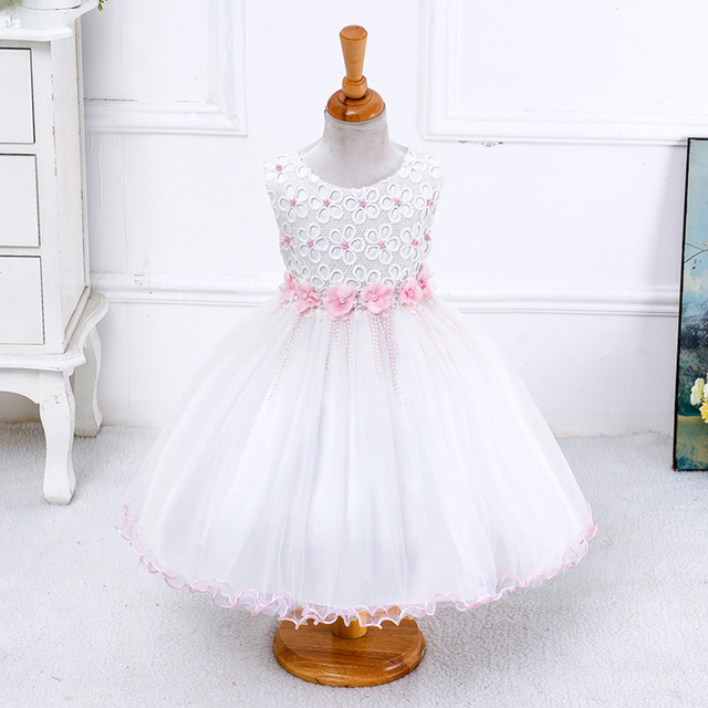 New cotton flower girl dresses sleeveless beading back zip bow lace new cotton flower girl dresses sleeveless beading back zip bow lace cloth girls pretty princess dresses mightylinksfo