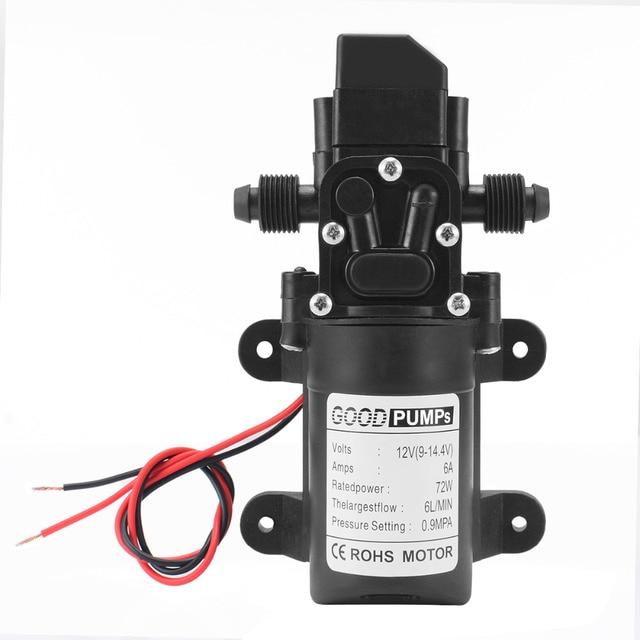 1pc High Quality DC12V 70W 130PSI Diaphragm Water Pump Small Safe High Pressure Self Priming Pump 6L/Min 165*100*62mm  Mayitr