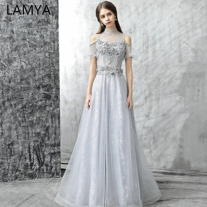 Lamya Long Beading Banquet   Prom     Dresses   2019 New Elegant Lace Evening Formal Party Gowns Appliques A Line vestido de festa longo