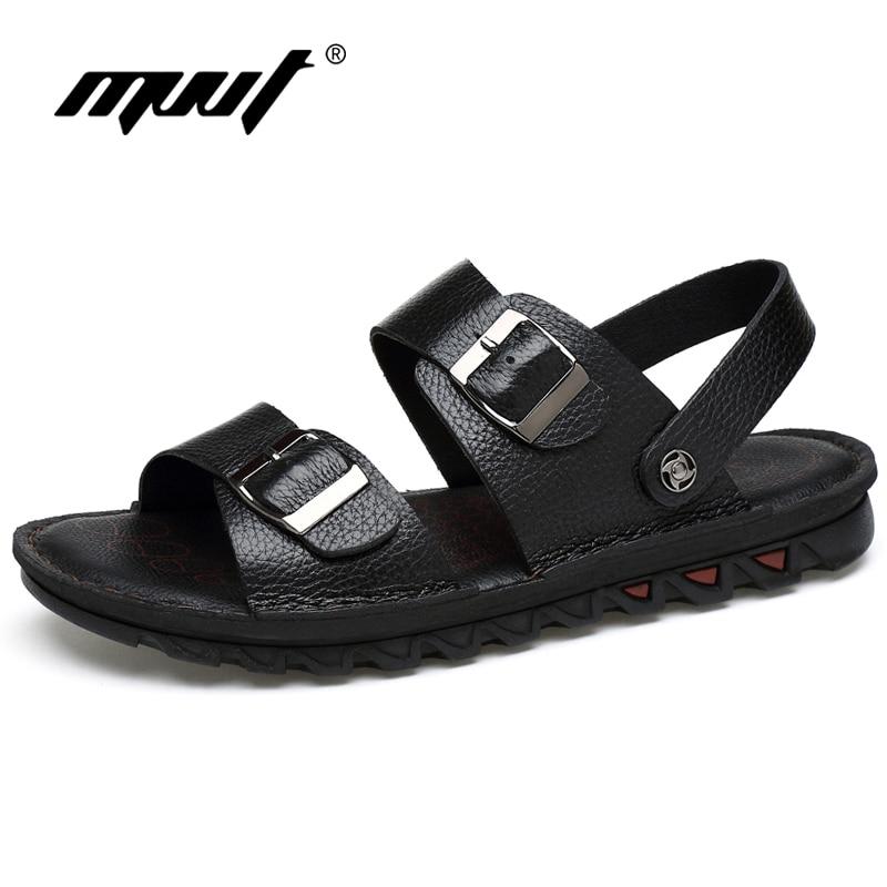Nauji MVVT dideli dydžiai vyrai sandalai natūralios odos sandalai dviejų stilių vyriški šlepetės vėsioje vasaros bateliai klasika butai kvėpuojantis batai