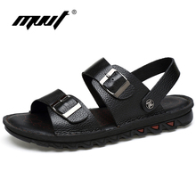 MVVT New Large Size Men Sandals Genuine Leather Sandals Two Style Men Slippers Cool Summer Shoes Classics Flats Breathable Shoes