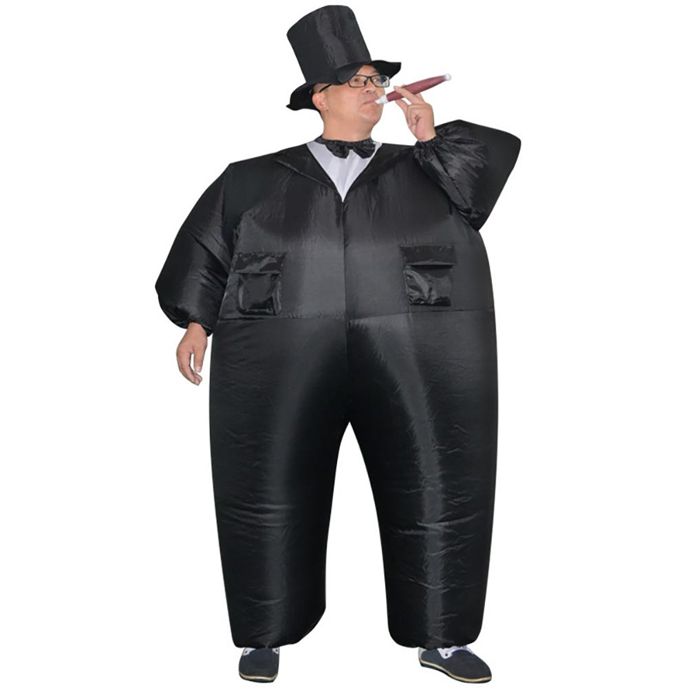 Gonflable Noir Smoking Costume Graisse Gentleman Gonflable Costume Chub Fantaisie Robe Amusant Jouet Halloween Carnaval Costumes pour Adulte
