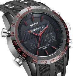 Новый binzi часовой бренд Для мужчин S Дата День светодиодный Дисплей Роскошные спортивные Часы цифровой Военная Униформа Для мужчин кварцевы...