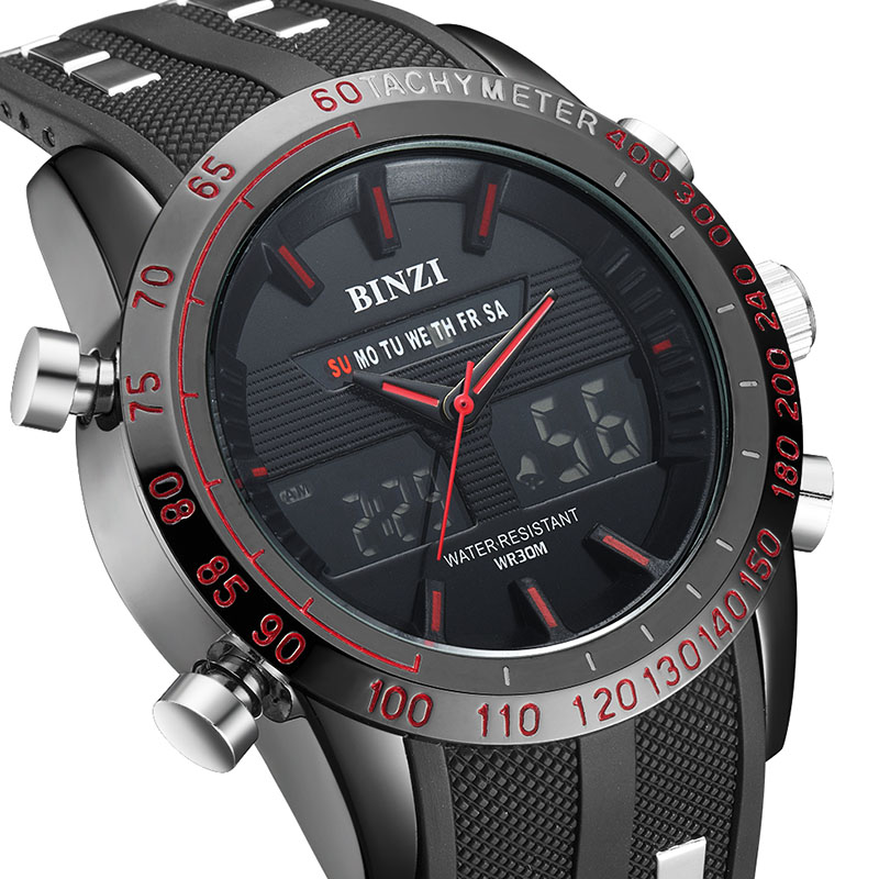 New BINZI Brand Watch Mens Date Day LED Display Luxury Sport Watches Digital Military Men's Quartz Wrist Watch Relogio Masculino new forcummins insite date unlock proramm