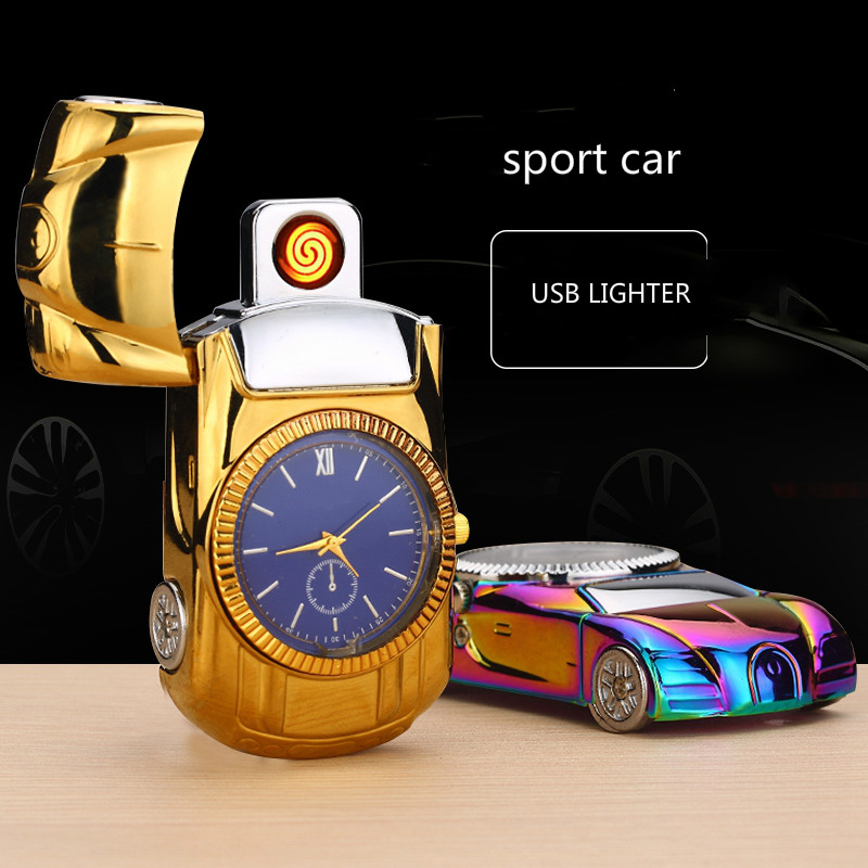 Creative Sports Car Shape with Watch Function Windproof Electronic Cigar Lighter Personality Rechargeable USB Lighter