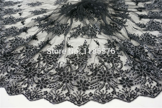 Black Embroidery Fabric With Silver Cord On Embroidered Mesh Hand