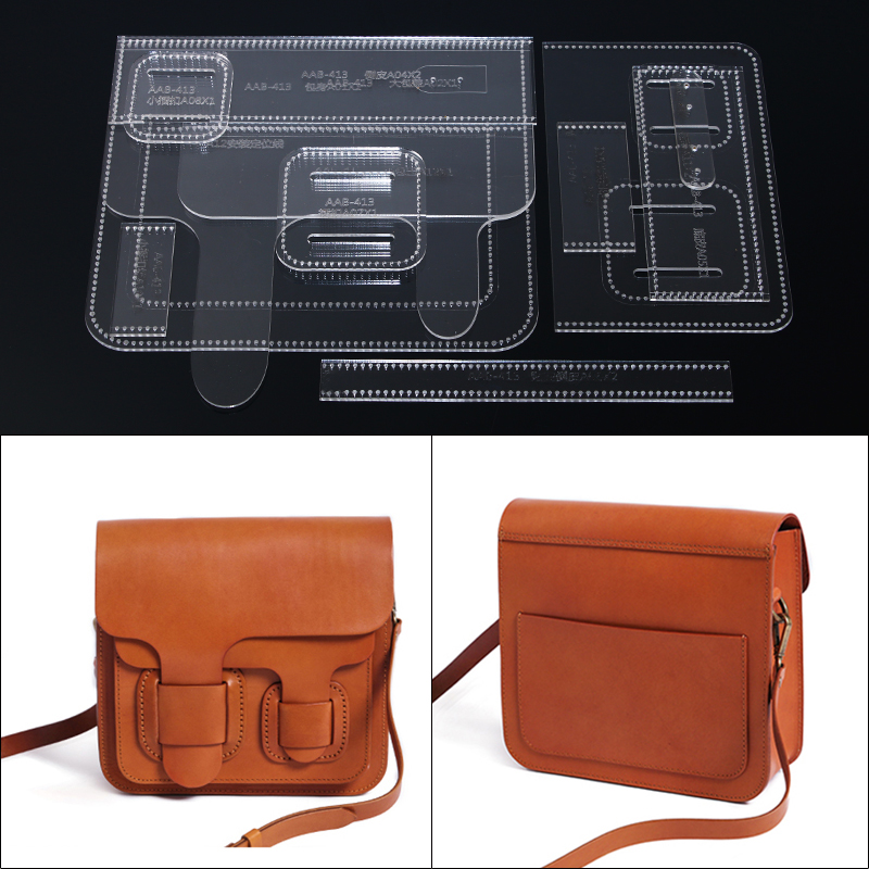 1Set Acrylic Template Pattern For Fashion Crossbody Bag Shoulder Bag Leather Craft Pattern DIY Stencil Sewing Pattern 24*21*8cm