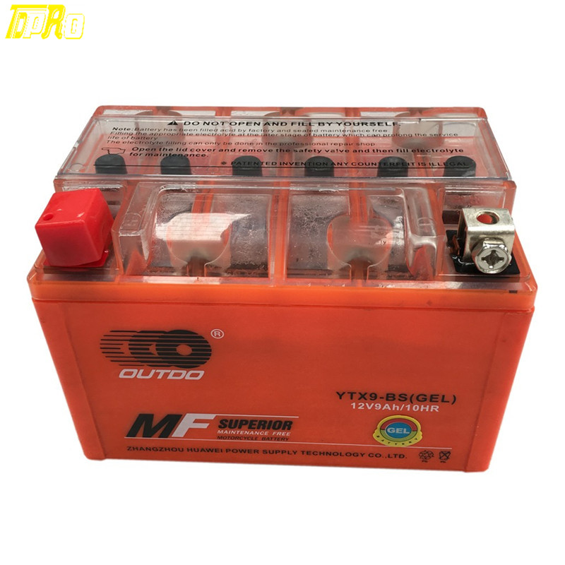 Véritable batterie de GEL de moto TDPRO 12 v 9A YTX9-BS pour Honda CH150 lite Hyosung NSC-250 matrice de E-TON SYM